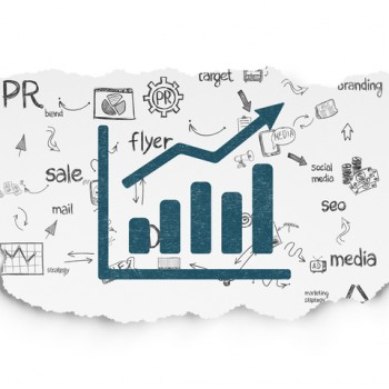Marketing concept: Painted blue Growth Graph icon on Torn Paper background with Scheme Of Hand Drawn Marketing Icons, 3d render