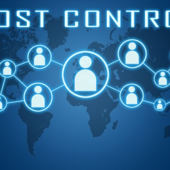 Cost Control concept on blue background with world map and social icons.