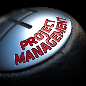 Project Management - Red Text on Car's Shift Knob on Black Background. Close Up View. Selective Focus.