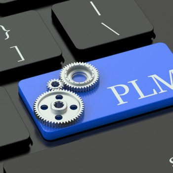 PLM concept on blue keyboard button
