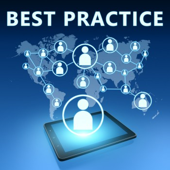 Best Practice illustration with tablet computer on blue background