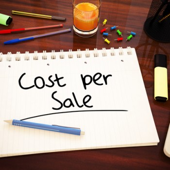 Cost per Sale - handwritten text in a notebook on a desk - 3d render illustration.