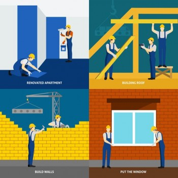 Building construction process and apartment block renovation 4 flat icons square composition banner abstract isolated vector illustration