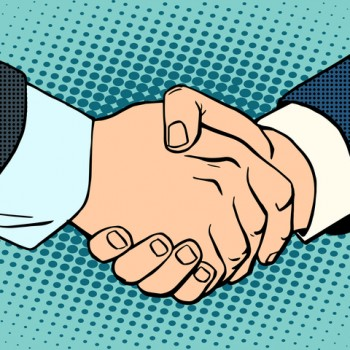 Handshake business deal contract. Business concept then art retro style