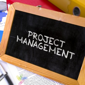 Handwritten Project Management on a Chalkboard. Composition with Chalkboard and Ring Binders, Office Supplies, Reports on Blurred Background. Toned Image. 3D Render.