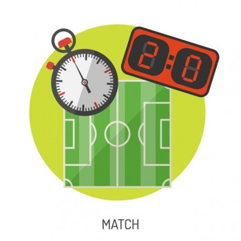 Soccer and Football Flat Icon Set for Flyer, Poster, Web Site like Stadium, Stopwatch and Scoreboard.