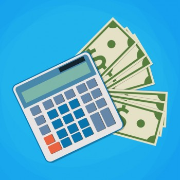 financial icon in flat style with money and calculator
