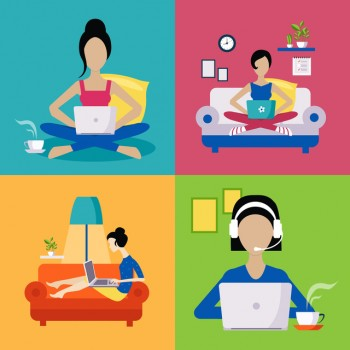 Women Working Freelance Set Of Flat Vector Illustrations In Bright Colorful Simplified Infographic Style