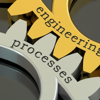 engineering processes concept on the gearwheels, 3D rendering