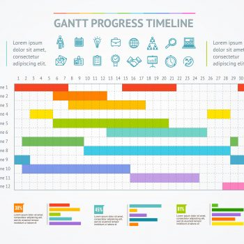 Gantt Progress Line. Vector